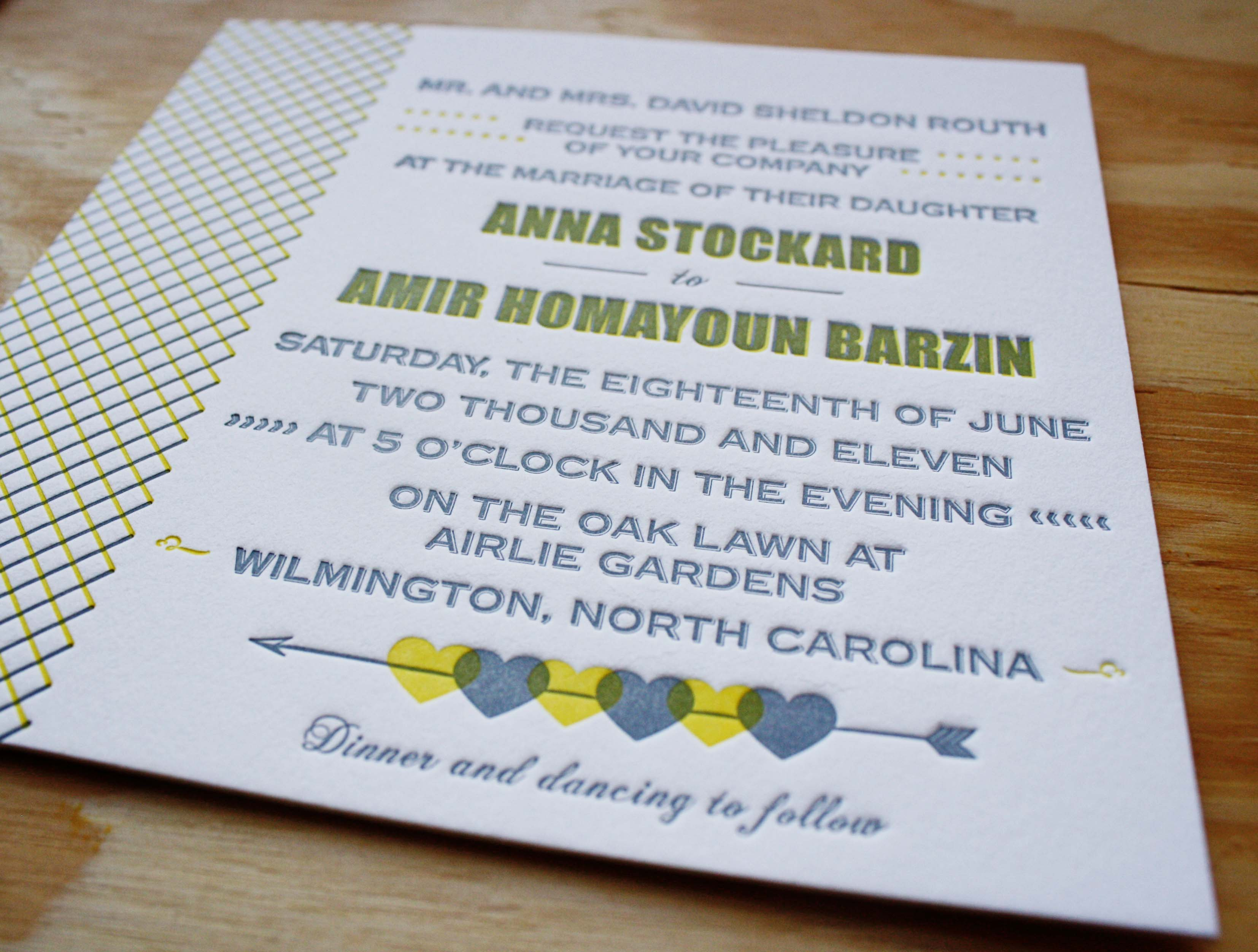 Yellow Grey Wedding Invitations: Yellow And Grey Letterpress Suite