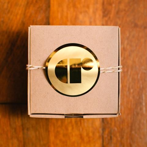 Gold foil photographer sticker
