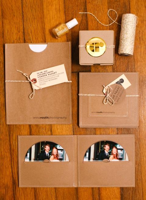 Kraft and metallic photographer packaging