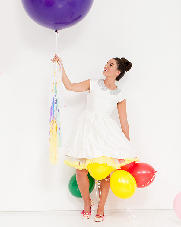 colorful balloon bridal shoot