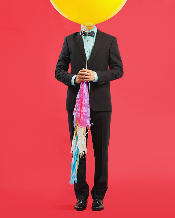 colorful balloon groom shoot