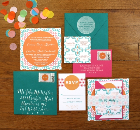 Modern fiesta colorful wedding invitation suite