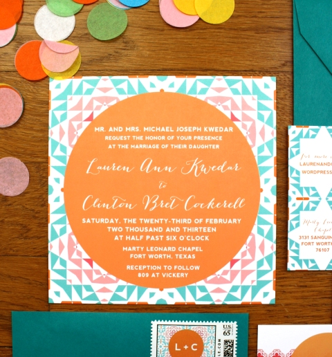 multi color fiesta wedding invitation