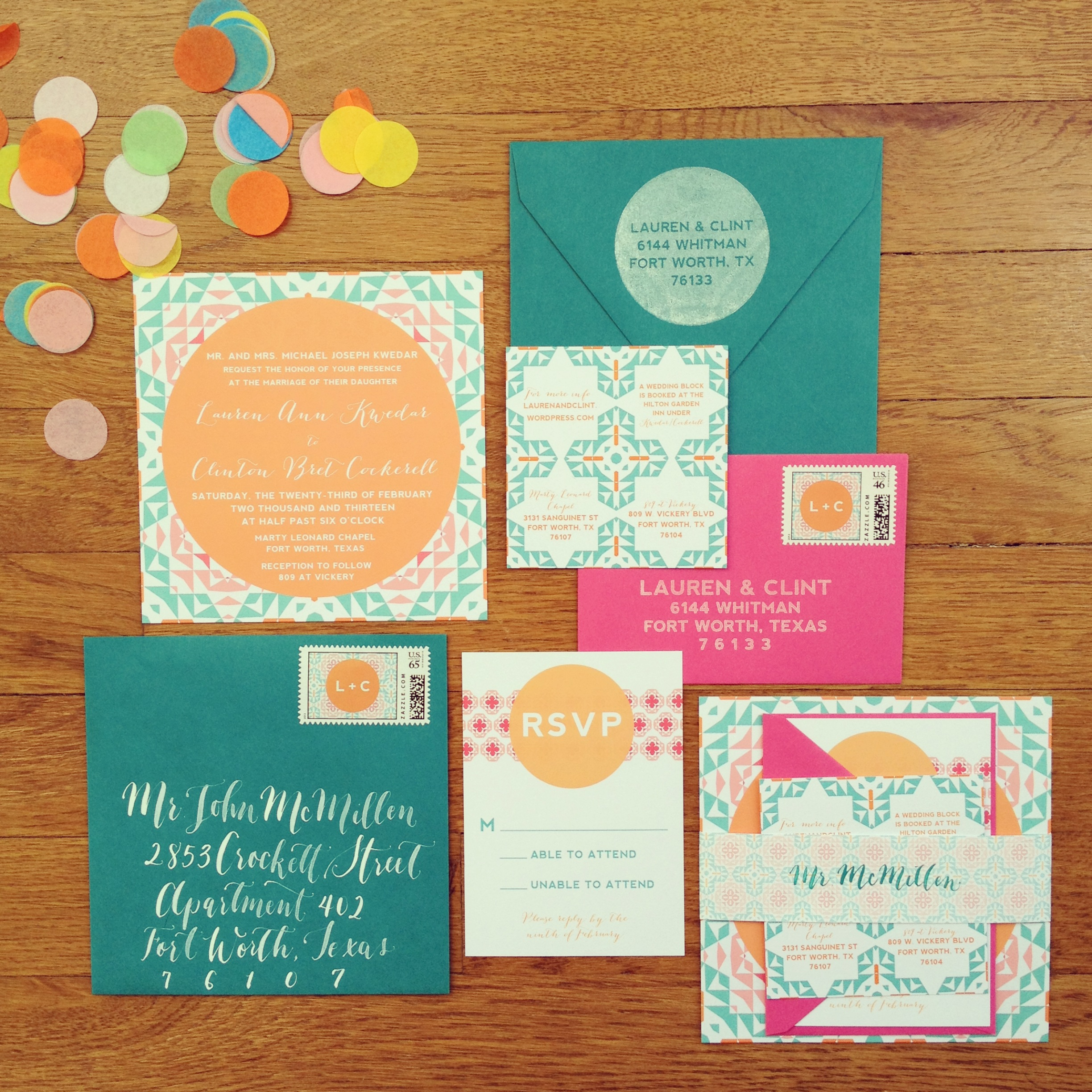 pattern and color play wedding invitation suite
